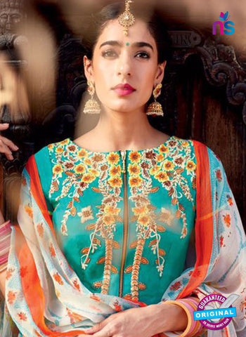 Heer 6104 Sea Green and Multicolor Color Cotton Designer Suit