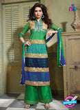 SC 13201 Multicolor and Green Party Wear Pure Nett Straight Suit