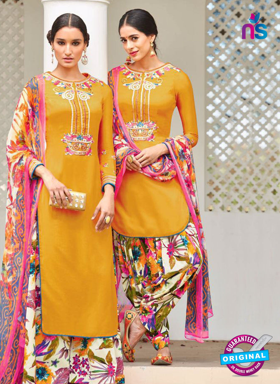 Heer 6105-Yellow and Multicolor Color Cotton Designer Suit