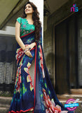 NS 12357 6106 Sea Green and Blue Floral Printed Georgette Saree