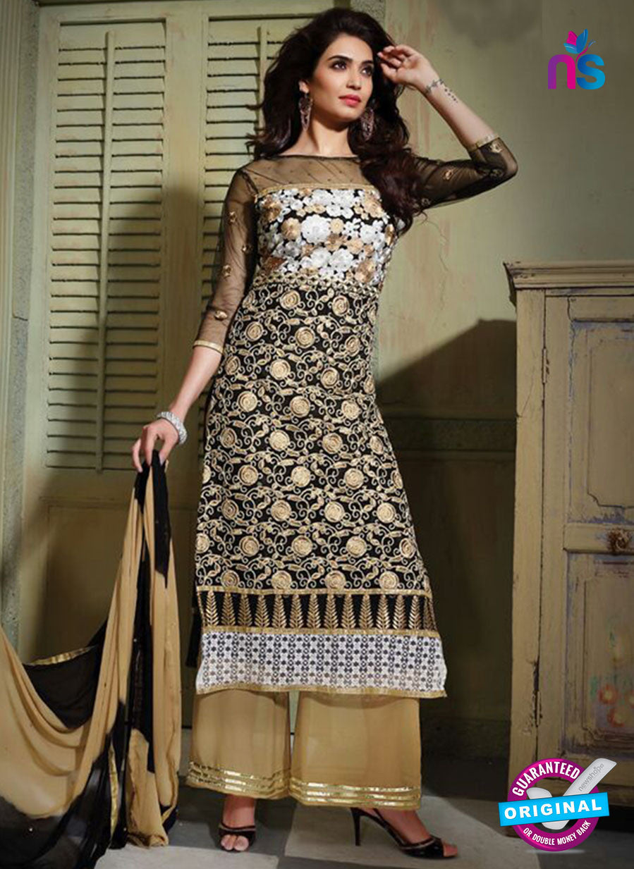 NS10800 Black and Brown Party Wear Pure Net Designer Straight Suit
