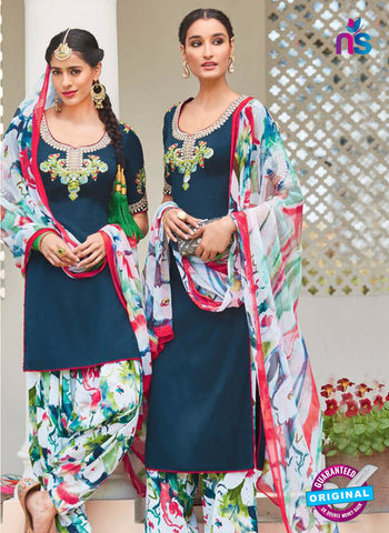 Heer 6106-Blue and Multicolor Color Cotton Designer Suit