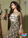 SC 13198 Black and Brown Party Wear Pure Nett Straight Suit Online