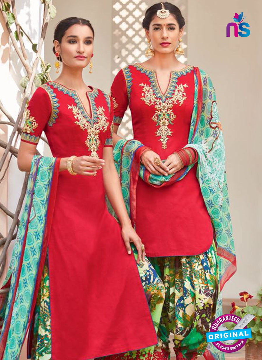 Heer 6107-Red and Multicolor Color Cotton Designer Suit