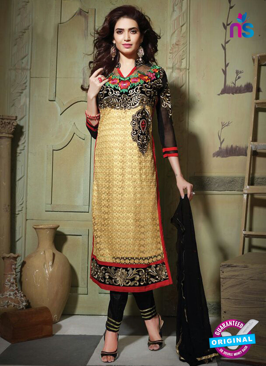 SC 13197 Black and Beige Party Wear Pure Nett Straight Suit
