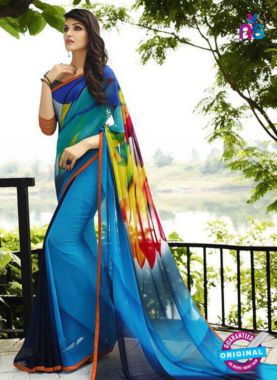 NS 12356 6108F Blue and Multicolor Floral Printed Georgette Saree