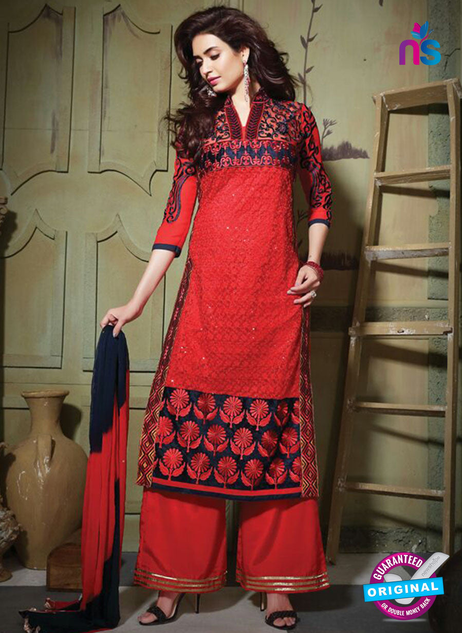 SC 13195 Red and Black Party Wear Pure Nett Straight Suit