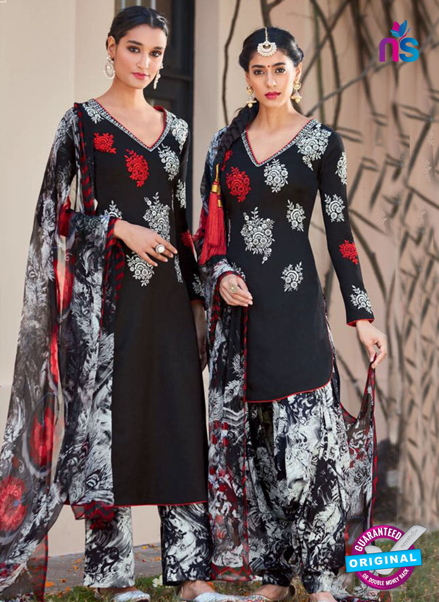 Heer 6108-Black and White Color Cotton Designer Suit