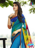 NS 12356 Blue and Multicolor Floral Printed Georgette Saree