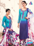 Heer 6109-Blue and Multicolor Color Cotton Designer Suit
