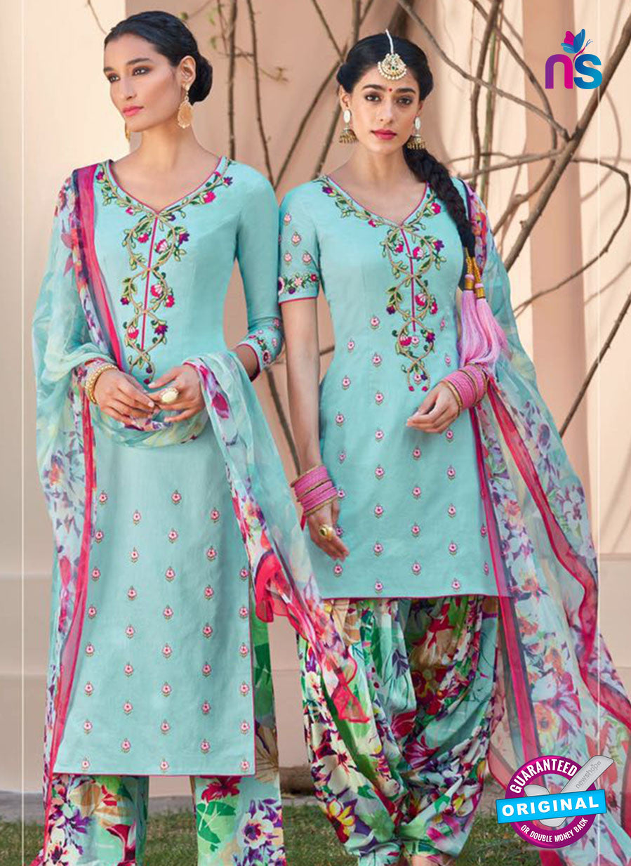Heer 6110-Green and Multicolor Color Cotton Designer Suit