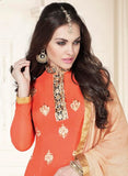 Sanjana 6111 Orange Georgette Party Wear Straight Suit