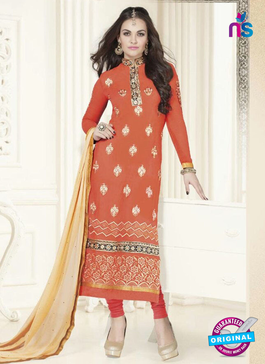 SC 12758 Orange Georgette Party Wear Straight Suit
