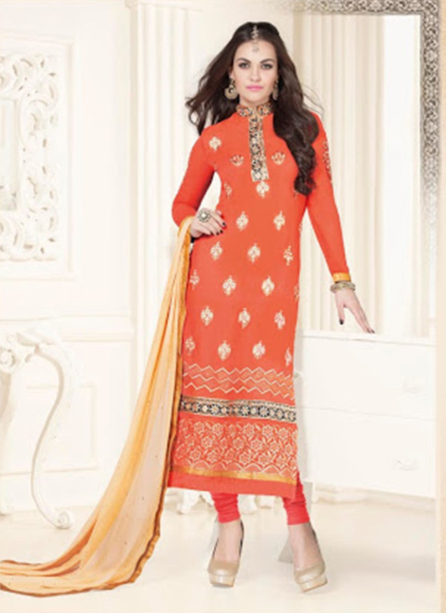 NS11577 Orange Georgette Party Wear Straight Suit