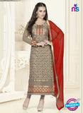 SC 12754 Brown and Red Georgette Party Wear Straight Suit