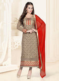 NS11578 Brown and Red Georgette Party Wear Straight Suit