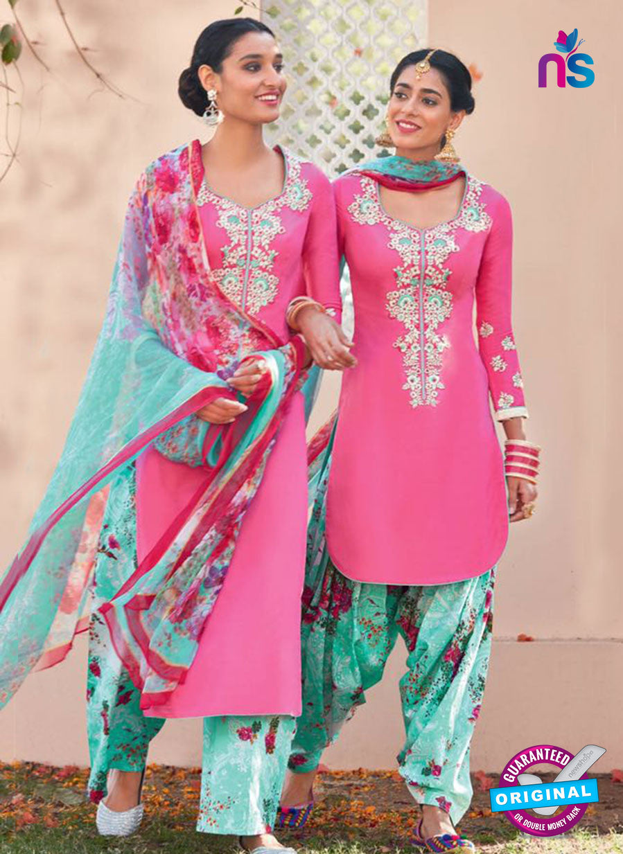 Heer 6114-Pink and Green Color Cotton Designer Suit