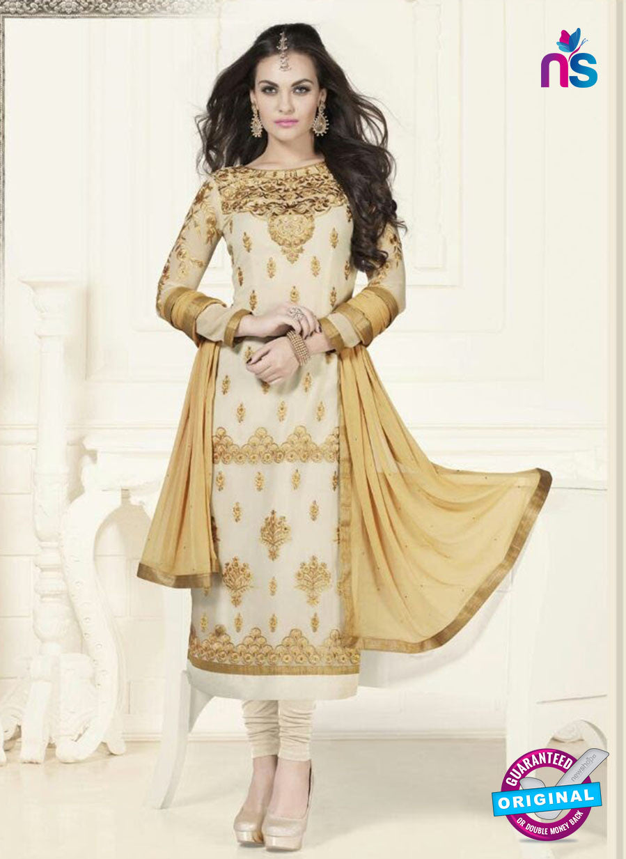 SC 12752 Beige and Brown Georgette Party Wear Straight Suit