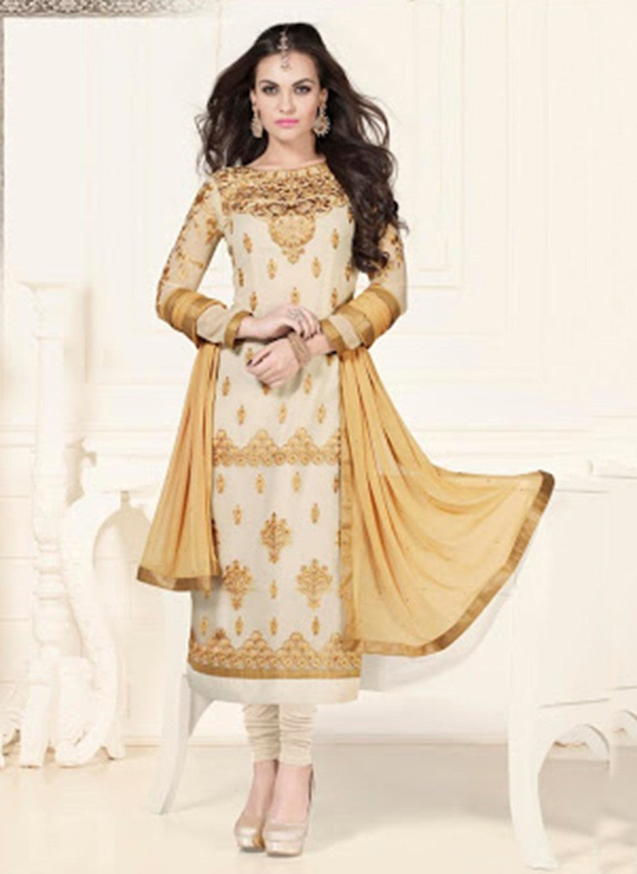 NS11579 Beige Georgette Party Wear Straight Suit