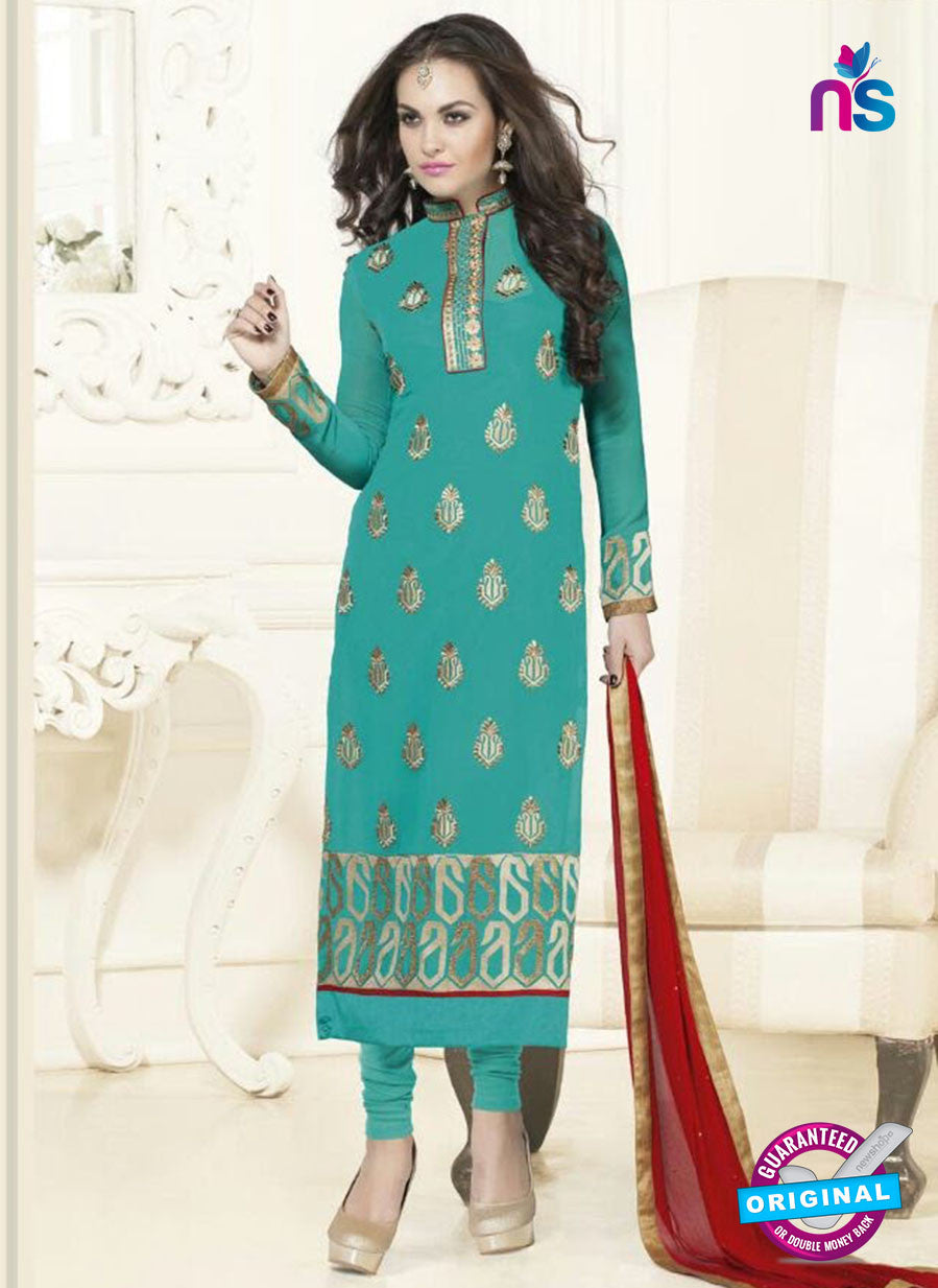 SC 12755 Blue and Red Georgette Party Wear Straight Suit