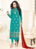 NS11580 Sea Green and Red Georgette Party Wear Straight Suit