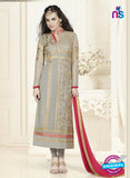 SC 12756 Grey and Red Georgette Party Wear Straight Suit