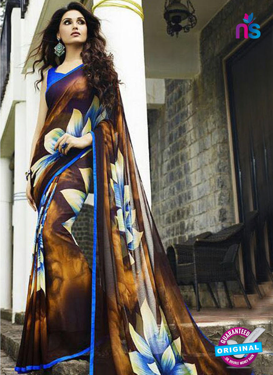 NS 12354 6117 Brown and Blue Floral Printed Georgette Saree