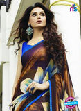 NS 12354 Brown and Blue Floral Printed Georgette Saree