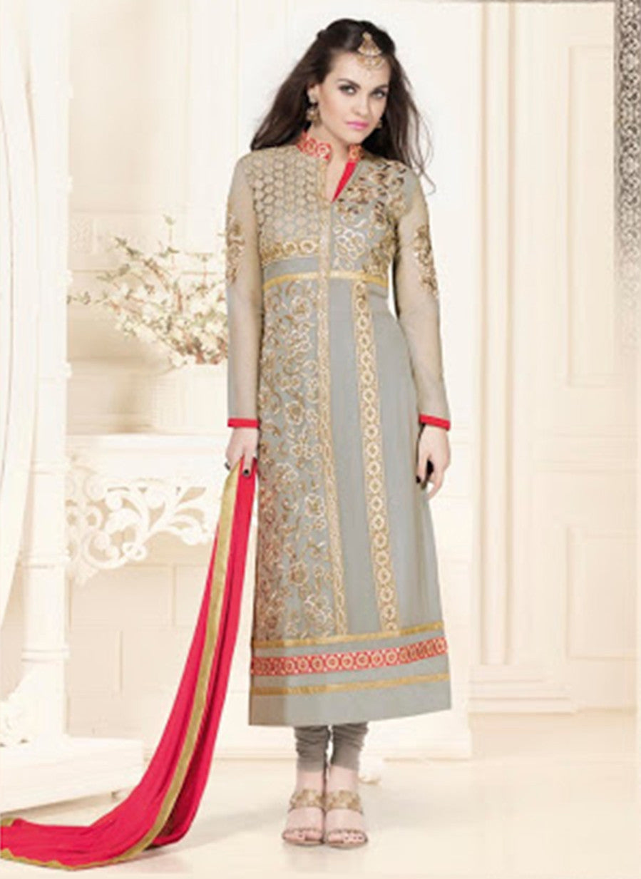 NS11582 Grey and Red Georgette Party Wear Straight Suit