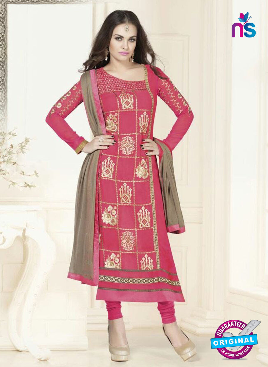 SC 12759 Pink and Golden Georgette Party Wear Straight Suit