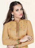 NS11584 Beige and Green Georgette Party Wear Straight Suit