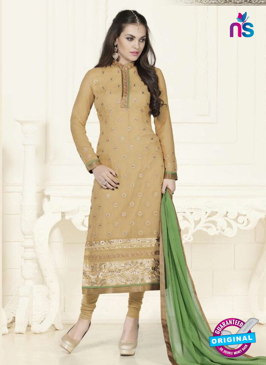 SC 12753 Brown and Green Georgette Party Wear Straight Suit