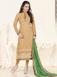 NS11584 Golden and Green Georgette Party Wear Straight Suit