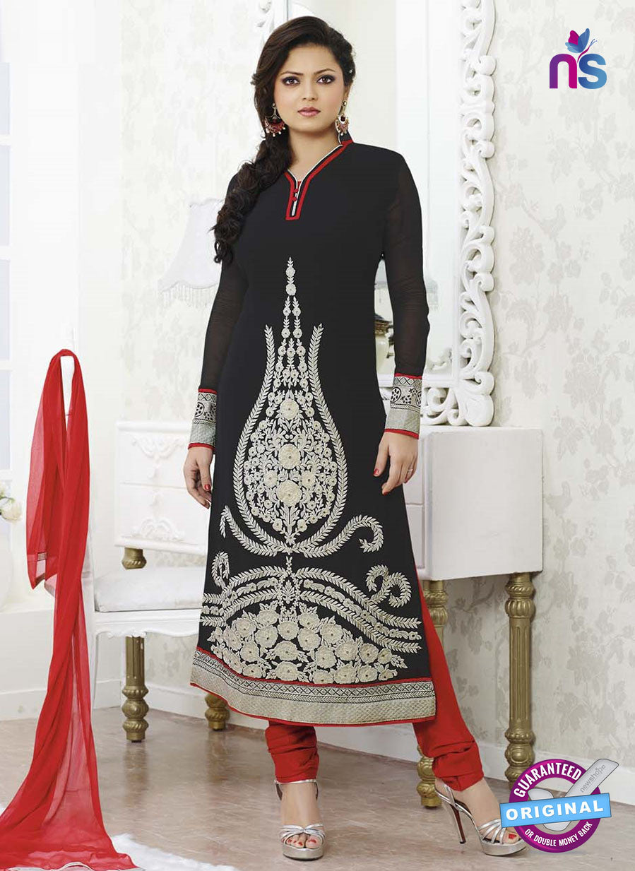 NS 11977 Black and Red Designer Georgette Designer Straight Suit
