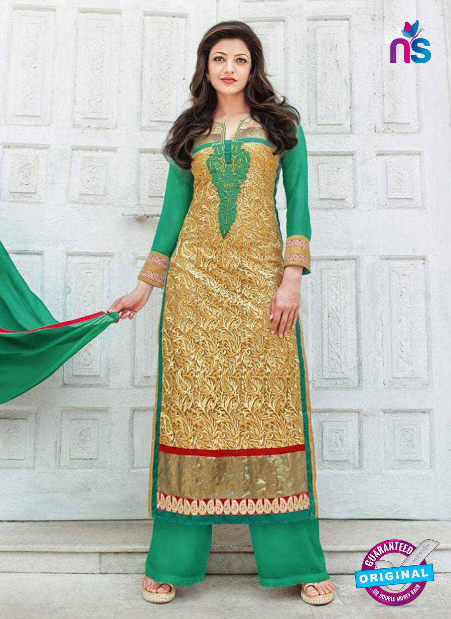 SC 13277 Brown and Green Embroiderd Georgette Suit
