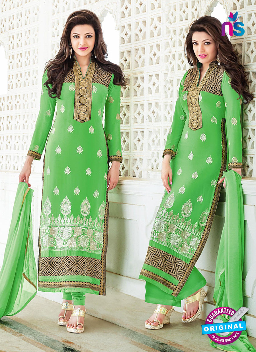 SC 13278 Green and White Embroiderd Georgette Suit