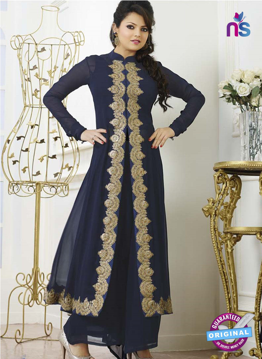 NS 11978 Blue Designer Georgette Designer Straight Suit