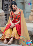 Heer 6202 Red and Yellow Embroidered Cotton Party Wear Suit