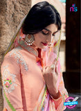 Heer 6203 Peach and Purple Embroidered Cotton Party Wear Suit