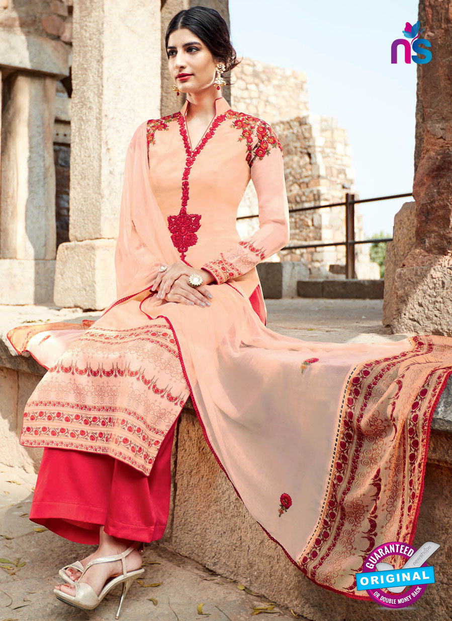 Heer 6204 Red and Peach Embroidered Cotton Party Wear Suit