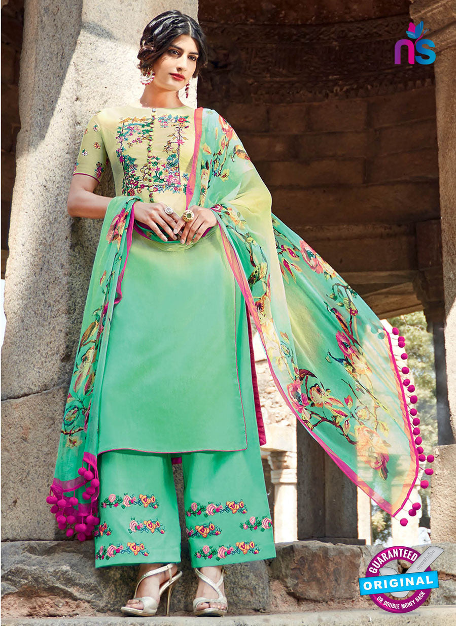 Heer 6206 Sea-Green and Yellow Embroidered Cotton Party Wear Suit