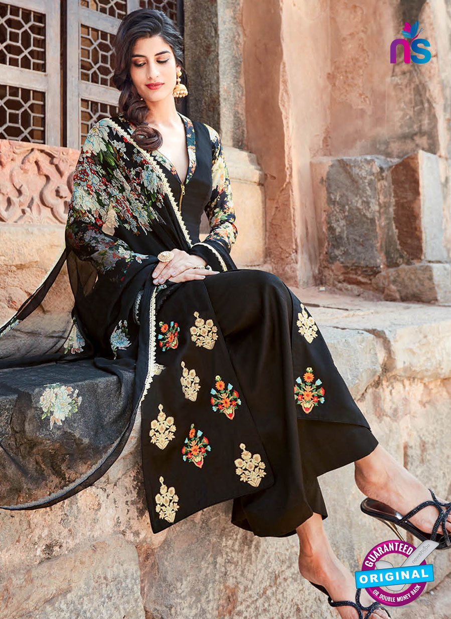 Heer 6207 Black Embroidered Cotton Party Wear Suit