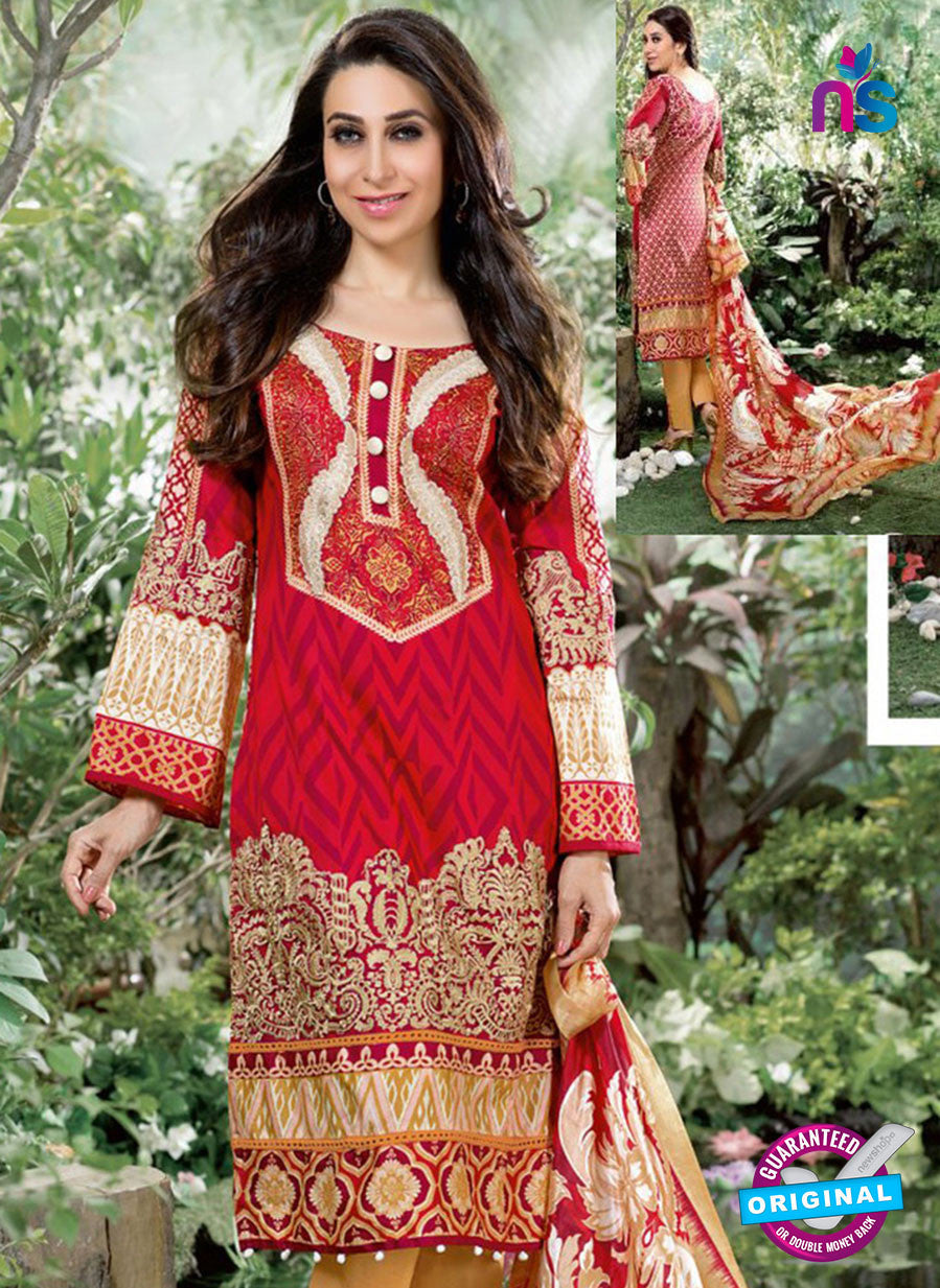 NS10671 Red and Orange Printed Cambric Cotton Designer Straight Suit