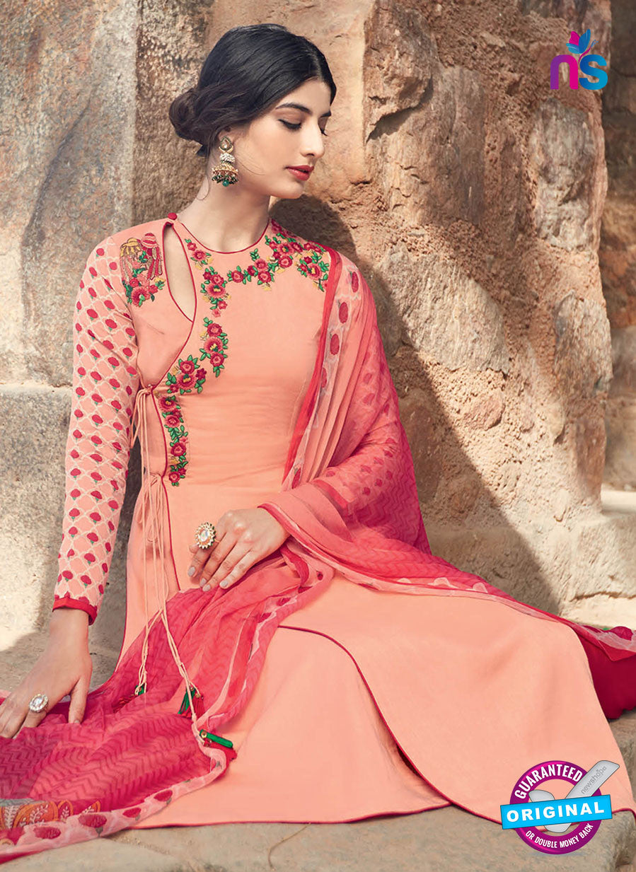 Heer 6210 Peach Embroidered Georgette Party Wear Suit
