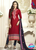 SC 12593 Maroon and Blue Embroidered Pure Cotton Straight Suit