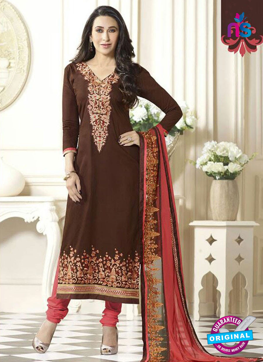 SC 12597 Brown and Pink Embroidered Pure Cotton Straight Suit