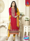 SC 12591 Red and Yellow Embroidered Pure Cotton Straight Suit