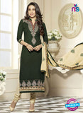 SC 12594 Green and Beige Embroidered Pure Cotton Straight Suit
