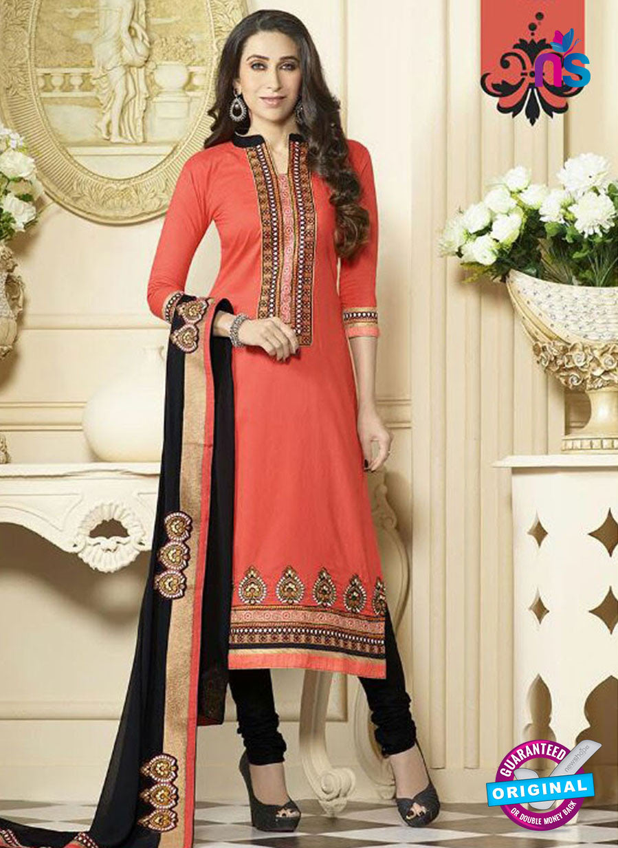 SC 12595 Peach and Black Embroidered Pure Cotton Straight Suit
