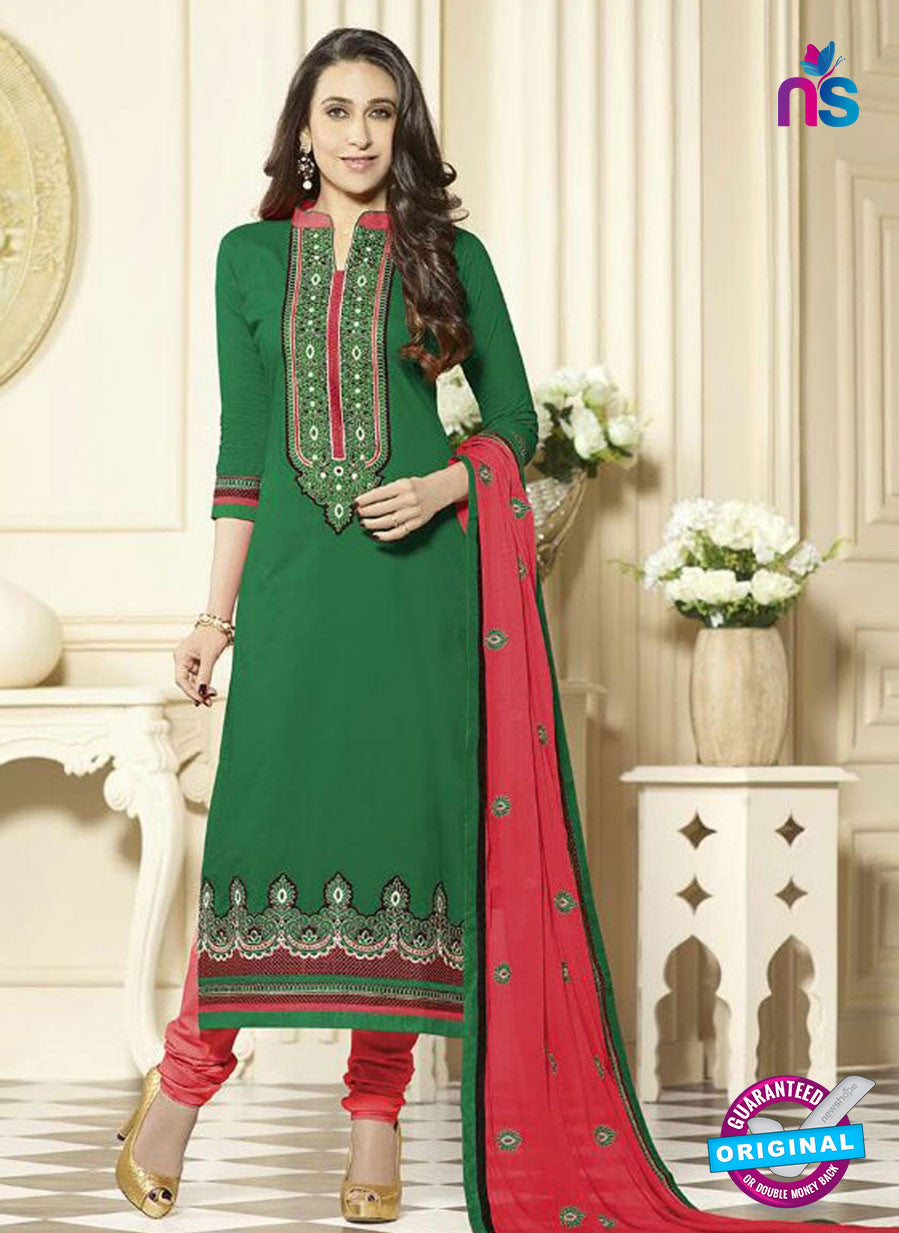 SC 12590 Green and Pink Embroidered Pure Cotton Straight Suit